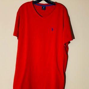 Men US Polo ASSN. V NECK T Shirt Size XL Red
